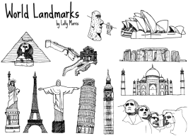 033-free-hand-drawn-world-landmark-vectors